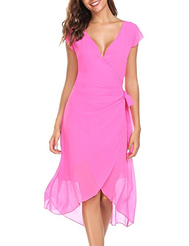 ANGVNS line Sleeve Neck Women's V Self A Dress Red Chiffon Ruffle Wrap Cap Dress Summer Tie Rose BxBnwpUrq