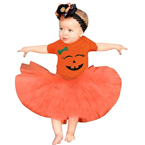 GBSELL Newborn Baby Girls Halloween Clothes Party Dress Pumpkin Tutu Skirt Set (Orange, 0-6 Months) ()
