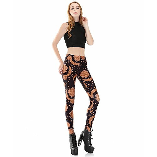 VOULOIR Women's Fashion Digital Printe Sun and Moon Strenchy Leggings Pants