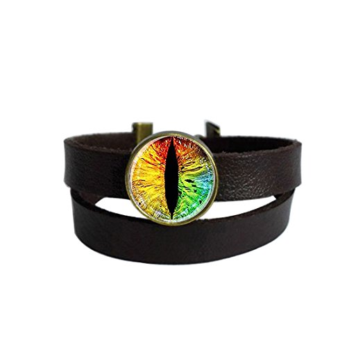 gon EyeKeychain Round Pendant Leather Bracelets Glass Cabochon Key Rings Stainless Steel Metal Handmade Charm Bangle Bracelet ()