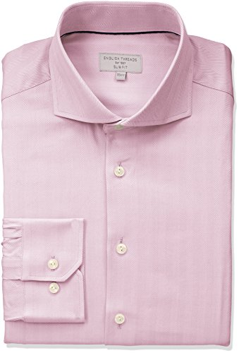 (English Threads Men's Slim Fit Herringbone Dress Shirt, Pink 16.5