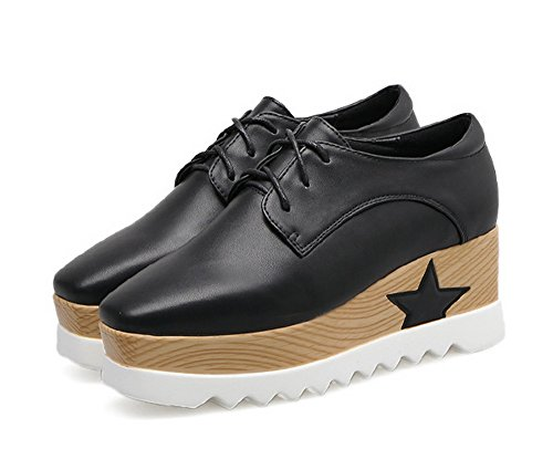 Platform 4 Wedges Oxfords Toe Womens Urethane 1TO9 UK Shoes Square Black 1AnwEqzzZx