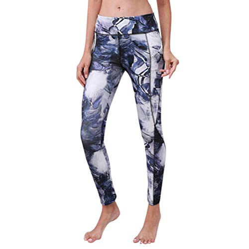 Elaco Women Yoga Pants,Women High Waist Pocket Printed Sports Gym Yoga Running Fitness Leggings Pants (Gray, L)