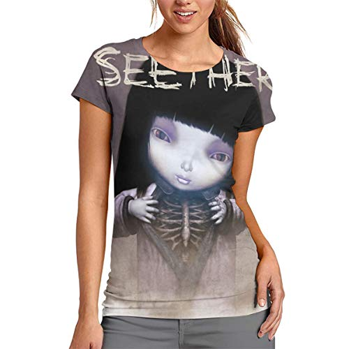 Seether Finding Beauty in 3D Printed Comfortable Womens Round Neck Short Sleeve Tshirts L ()