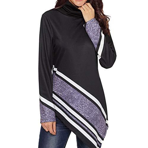 Fulision Suéter de cuello alto para mujer Camisa de manga larga con fondo asimétrico Suéter de cuello alto a rayas Suéter...