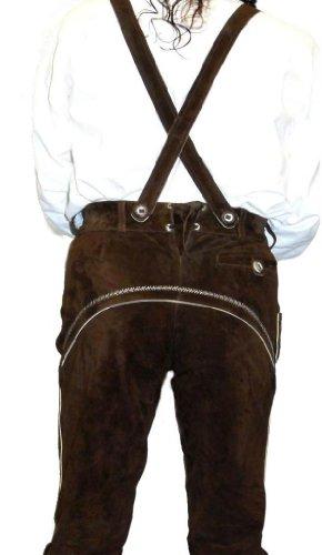 2-Piece-Leather-German-Oktoberfest-Lederhosen-Shorts-Pants-Brown