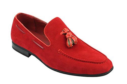 Xposed–borla de ante sintético de piel hombre Smart Casual Formal conducción Slip On Zapatos Red