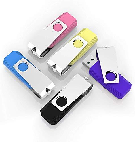 5 Pack 32GB USB Flash Drive K&ZZ Easy Storage Memory Stick Thumb Drives Gig Stick USB2.0 Pen Drive for Fold Digital Data Storage, Mixed Colors