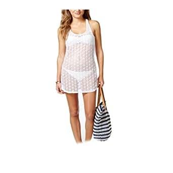 Miken Sheer Crochet Cover Up Dress Women's Swimsuit Large