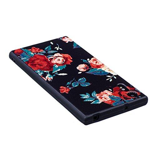 Trumpshop Smartphone Carcasa Funda Protección para Sony Xperia XZ + Claro de luna y búho + Serie Talla Ultra Suave Flexibles TPU Silicona Resistente a arañazos Caja Protectora Flor rosa