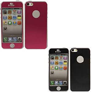 2 Pack Front And Back Sticker Tapa Dura Caso Cubrir Concha Para Apple iPhone 5 5S / Black And Pink