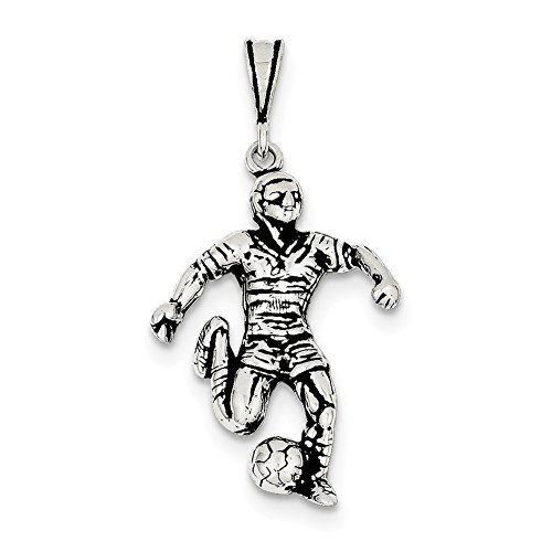 Sterling Silver Antiqued Soccer Player Charm QC7798 - Male Soccer Player Charm