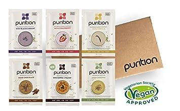 Purition Caja de muestras de batidos de proteínas veganos (6 x 40g). Batido para el desayuno sin lácteos