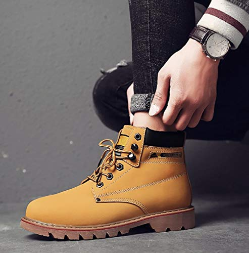 Boots CAMSSOO Leather Shoes Boots Lining Lovers Martin Pig Casual Adults Round Toe Yellow Unisex Couples Preferred Skin rXqwH7rP