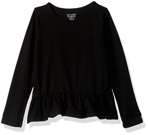The Children's Place Baby Girls' Long Sleeve T-Shirt, Black 08588, 18-24MONTH