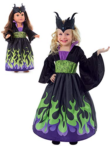 Little Adventures Dragon Queen Dress Up Costume with Soft Crown & Matching Doll Dress (Small Age 1-3) -