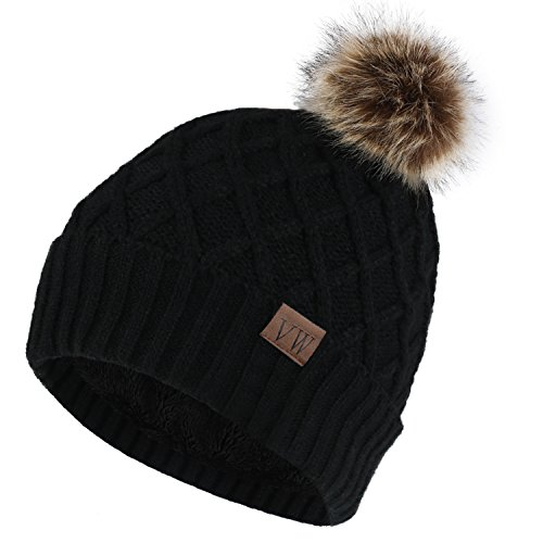Vmevo Womens Warm Faux Fur Pom Pom Beanie Hat Soft Cable Knit Winter Fleece Lined Skull Cap Cuff Beanie
