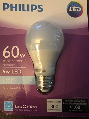 Price comparison product image Phillips 461327 9 Watt E26 A19 Frosted Daylight LED Dimmable Light Bulb