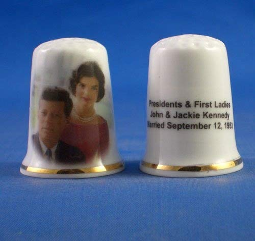 Birchcroft Porcelain China Collectable Thimble Presidents and First Ladies John & Jackie Kennedy Birchcroft China