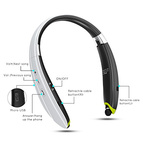 ab04feed08a [Newest Design] Foldable Bluetooth Headset,Pkman™ Upgrade Wireless Neckband Bluetooth  Headphones with