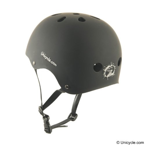 Unicycle Helmet - Removable foam sizing inserts -One size fits all- Black