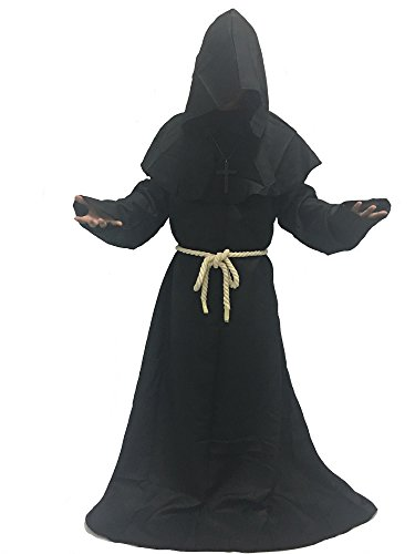 Adult Couples Costumes Ideas (MARIAN Medieval Monk Robe Halloween Cosplay Hooded Cape Costume (Black))
