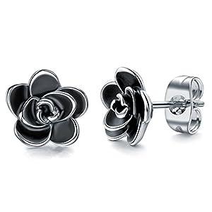 AllenCOCO 18K Gold Plated Black Rose Flower Stud Earrings for Women