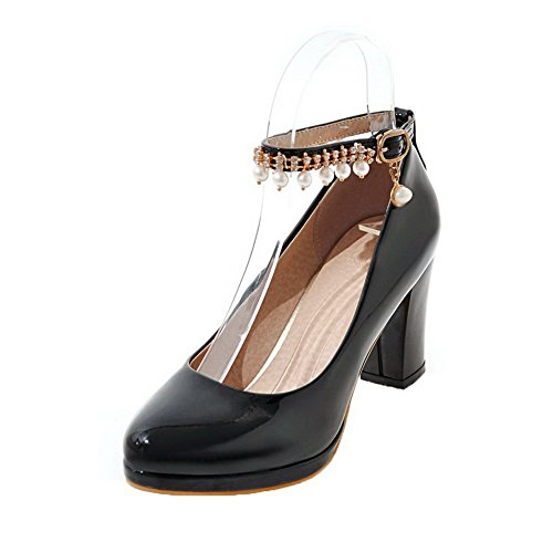VogueZone009 Women's High-Heels Solid Buckle PU Round-Toe Pumps-Shoes Black b6lSNlL