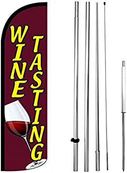 Spike Flag Pole Wine and Beer Swooper Feather Flag 16ft Aluminum Advertising Kit