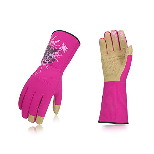Vgo Ladies' Synthetic Leather Long Cuff Rose Garden Gloves(1Pair,Size M,Purple Red,SL7445)