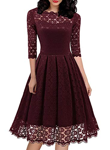 Womens 1950s Vintage 3/4 Sleeve Floral Lace Dress Wedding Dress Midi Dress Cocktail Dress Burgundy