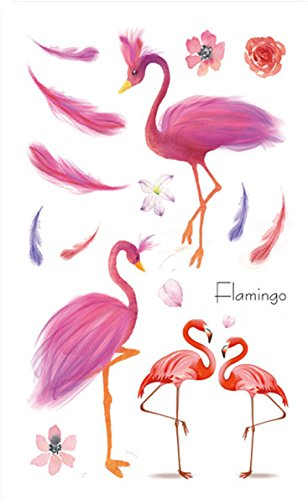 Set of 2 Waterproof Temporary Fake Tattoo Stickers Cute Pink Flamingo Birds Feather