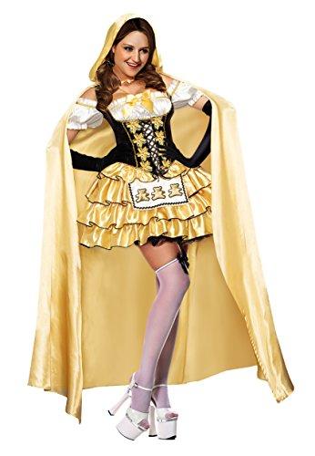 Ecilu Women's Fairytale Goldilocks Halloween Adult Costume Yellow -