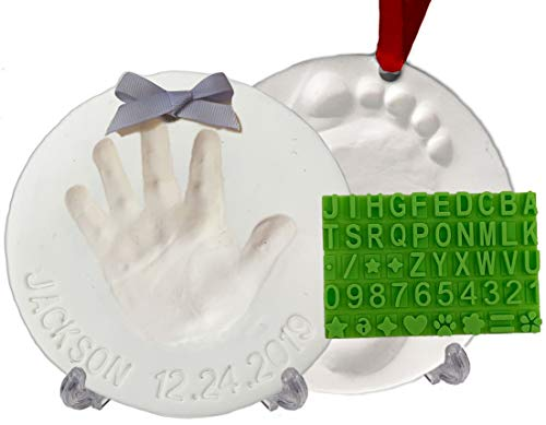 Baby Handprint Footprint Keepsake Ornament Kit (Makes 2) - Bonus Stencil for Personalized Xmas Newborn & Baby Shower Gifts. 2 Display Stands! Non-Toxic Air Dry Clay. Dries Light & Soft, Won't Crack.