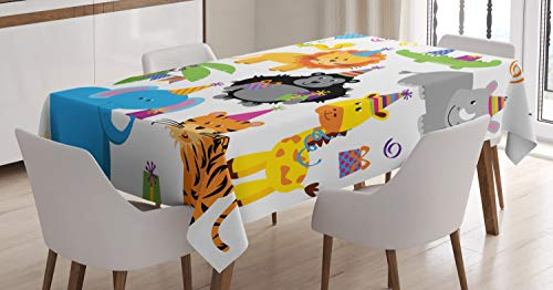 Ambesonne Birthday Tablecloth, Jungle Wild Safari Animals in Cartoon Pattern with Party Hats Flags Image, Dining Room Kitchen Rectangular Table Cover, 60 W X 84 L Inches, Multicolor