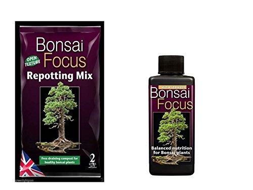 bonsai focus repotting mix 2 litre bag & bonsai focus 100ml feed GROWTH TECHNOLOGY