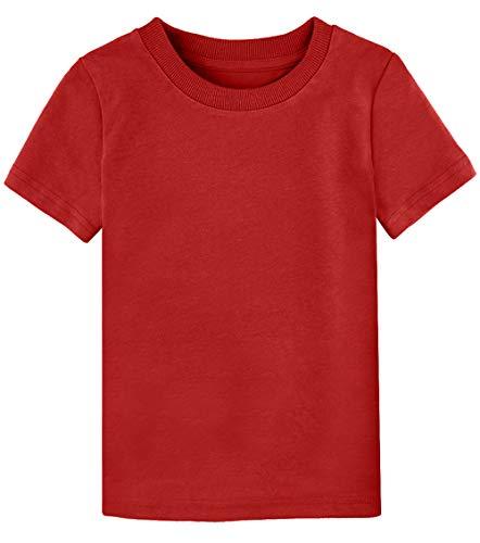COSLAND Toddler Plain T Shirt Cotton Teeshirt (Red, 3T)