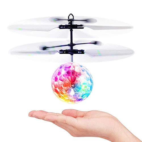 Flying Ball Toy, Infrared Sensor Drone Remote Control Flying Toy Hand Control Helicopter with Shiny LED Lights USB Charging Novelty Toys, Indoor and Outdoor Game Toys