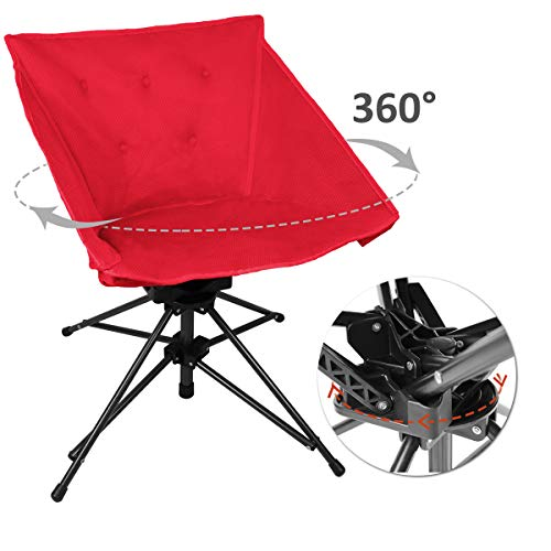 Zenree Portable Sports Lawn Swivel Chairs - Comfortable Folding Camping Hunting Chair with Air Mesh Padded Seat for Outdoor/Indoor, Red
