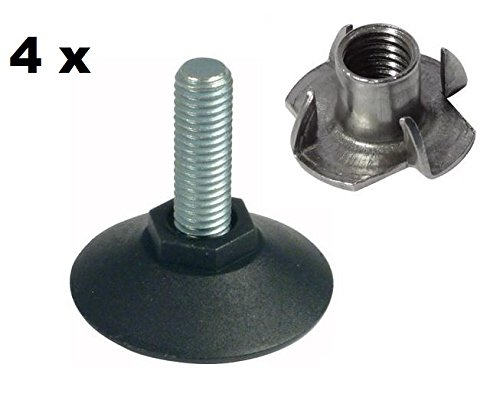 4 x Adjustable Levelling Feet 50mm x M10 with T Nut (8 Pieces) Catches And Latches
