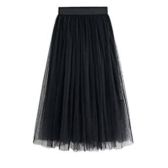 3e996e32f6 Chaoguang Women Layered Long Tulle Skirts High Waist A-Line Pleated ...