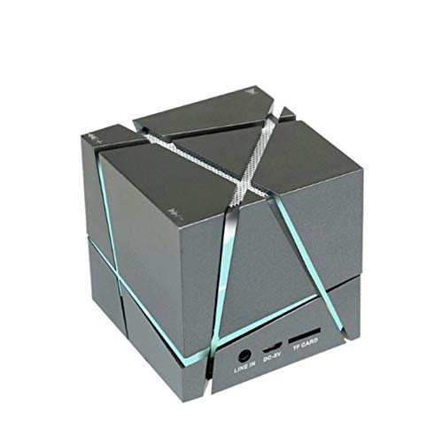 NEXGADGET Altavoz de Bluetooth Inalámbrico Portátil, Mini Altavoz de Cubo de Rubik con Luces Coloridas Creativas, Negro