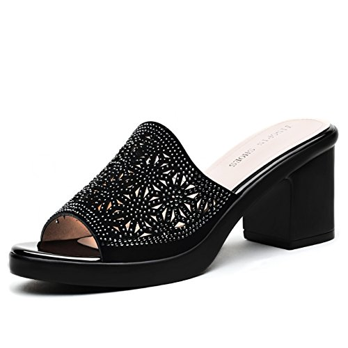 Verano de tacones altos con zapatillas frescas señoras/Fuera desgaste sandalias brillantes A