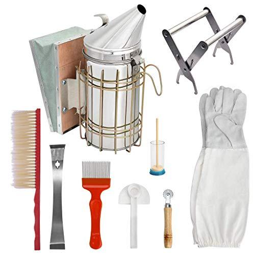 HONEI Beekeeping Supplies,Beekeeping Tools Kit 9 Pcs- for Beekeeper Necessary Bee Supplies Beekeeping Kit