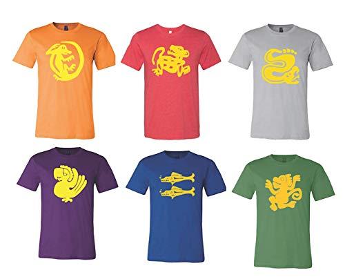 Legends of The Hidden Temple 90s Shirt Halloween Costume Green Monkey, Purple Parrot, Silver Snake, Blue Barracuda