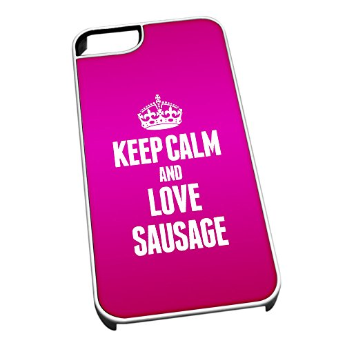 Bianco cover per iPhone 5/5S 1501 Pink Keep Calm and Love salsicce