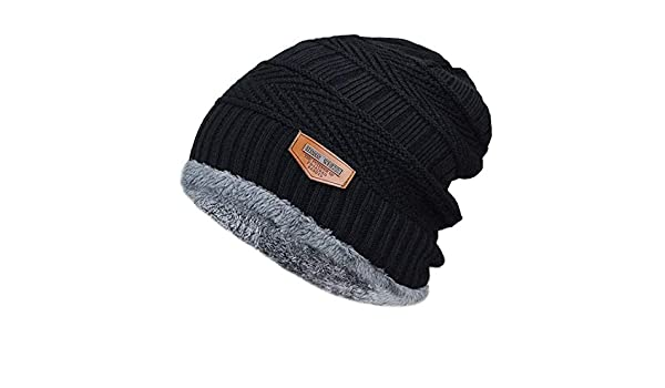 Mens Winter hat Fashion Knitted Colors Hats Fall Hat Thick and Warm and Bonnet Skullies Beanie Soft Knitted Beanies Cotton (Black) at Amazon Mens Clothing ...