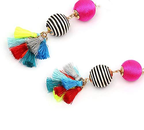 Thread Ball Dangle Clip on Earrings Bohemian Statement Thread Tassel Earrings Kid Girls Dangling Fringe