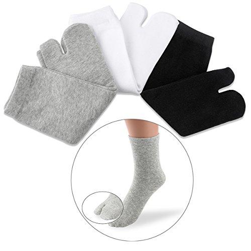 NUOLUX Elastic Cotton Tabi Toe Socks (White+Grey+Black)-3 Pairs