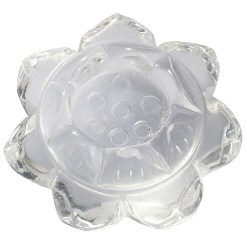 (Sharvgun Door Candles/Ball Holder Lotus Flower Rock Crystal Synthetic Stone, Crystal Healing for Table Decoration Warming Plate)